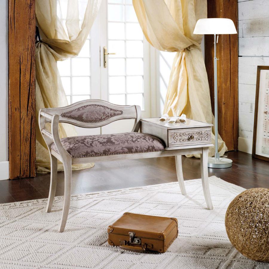 Bancuta alb antic lemn masiv cu spatar si masuta cu sertar decorate manual si tapiterie model frunze artar MBA001