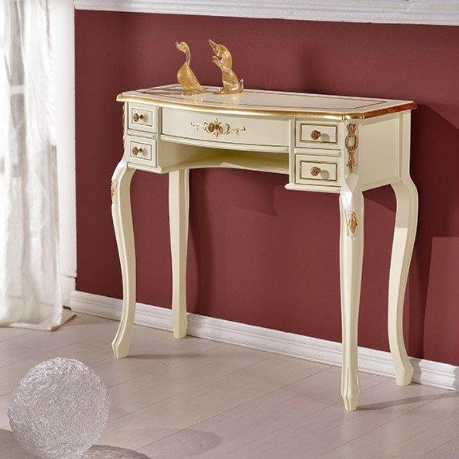Consola de perete culoare crem din lemn masiv cu 5 sertare pictate cu foita de aur aplicata manual MCN003