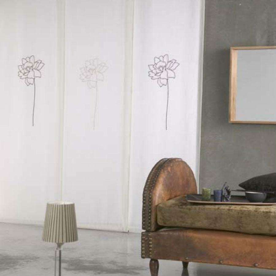 Panouri Japoneze material semiopac alb cu imprimeu contur negru floare JPJ005