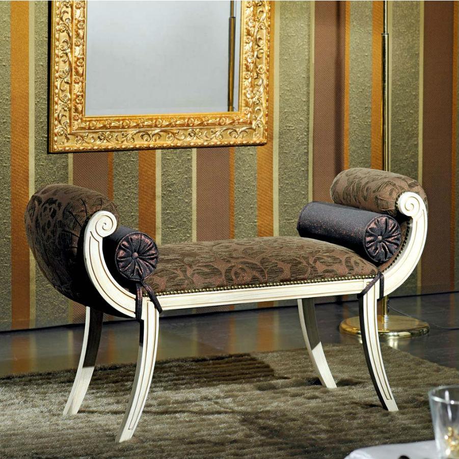 Bancuta lemn masiv alb tapitata cu catifea culoare ciocolatie si model floral MBA004