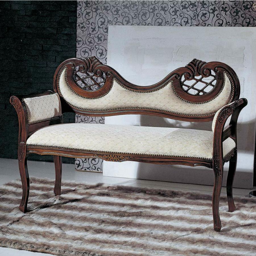 Bancuta lemn masiv cu detalii lucrate manual si tapiterie alba catifea MBA005