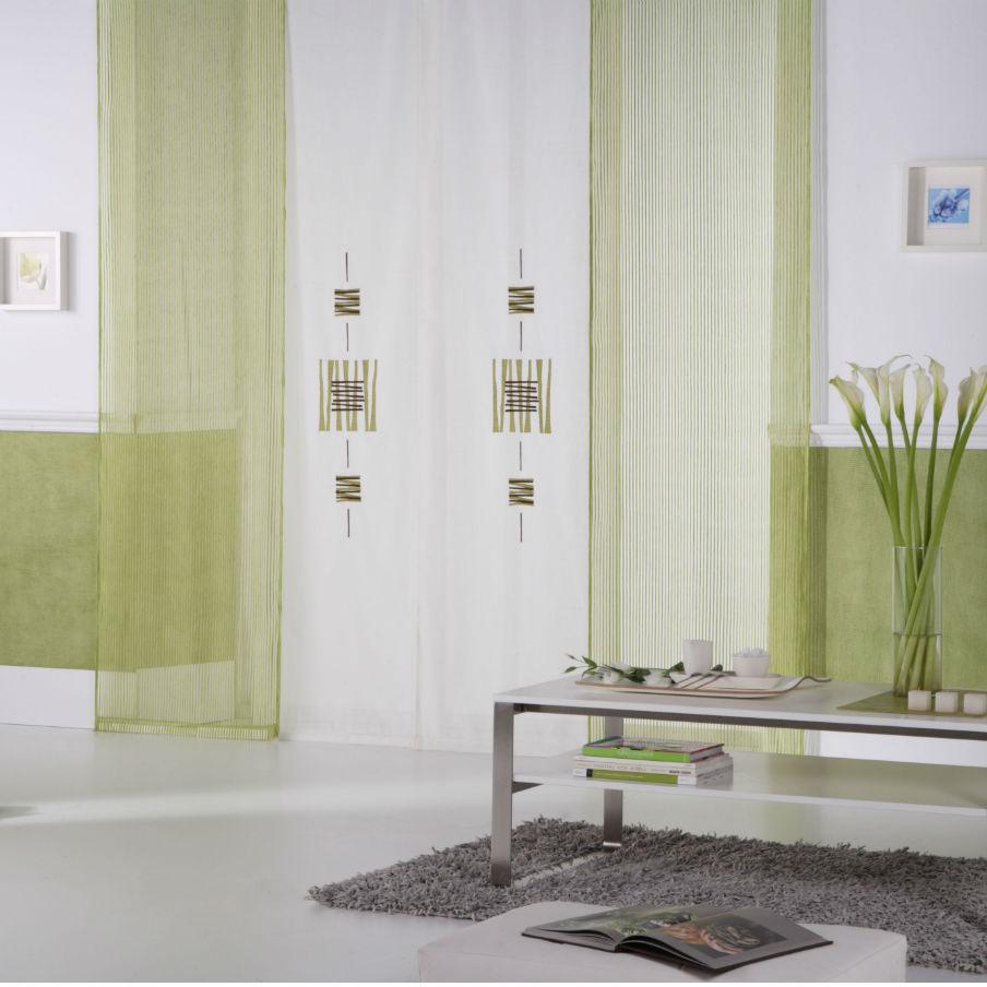 Panou japonez cu 4 sine si materiale alb opac cu model si transparent verde oliv cu dungute JPJ003