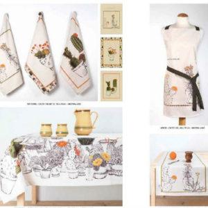 Material textil din fibre naturale cu motive florale pentru bucatarie DRBU005