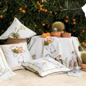 Material textil pentru terase cu digital print pe fond alb DRTR008